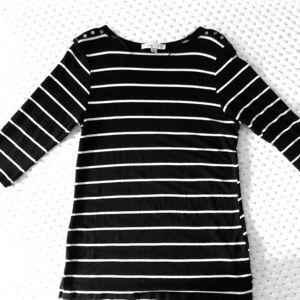 Larry Levine black white stripe Size M, 3/4 sleeve